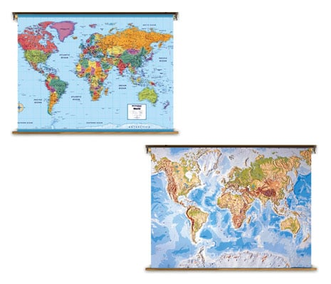 [กายภาพ] แผนที่ โลก 7 ทวีป (75x100 ซม.)